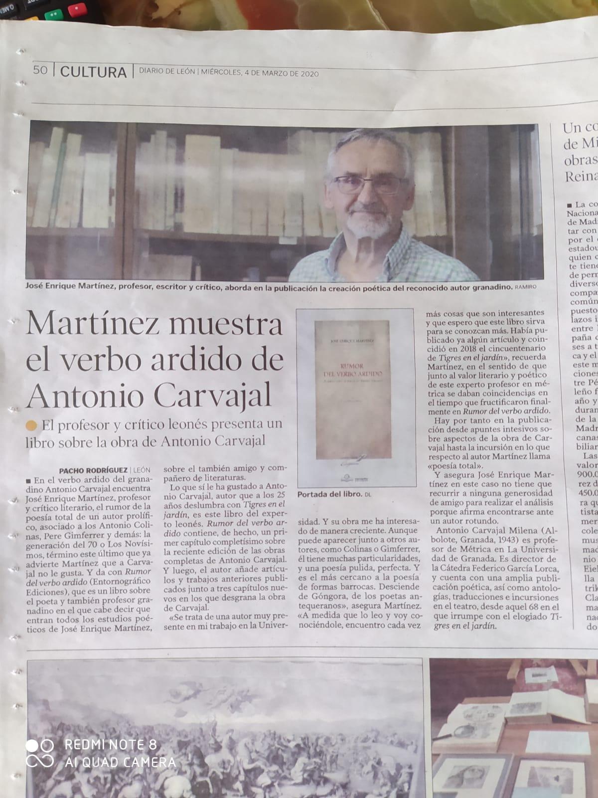 «Rumor del verbo ardido», del profesor y Catedrático de Teoría de la Literatura de la Universidad de León, José Enrique Martínez,